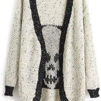 ROMWE | Color Block Skull Knitted Cream Cardigan, The Latest Street Fashion