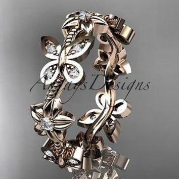 14kt rose gold diamond floral butterfly wedding band, engagement ring, ADLR139