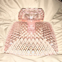 Stunning Pink Diamond Cut Depression Glass Square Pedestal Cake Stand, Pink Square Glass Pedestal Cake Stand 12 x 12