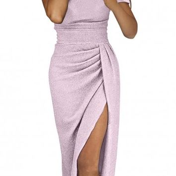 Purple Off Shoulder Short Sleeve Metallic Slit Party Dress