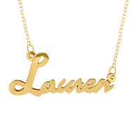 Personalized Cursive Name Plate Necklace