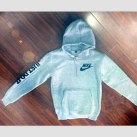 """NIKE"" ""Just do it"" Sleeve Women Men Fashion Hooded Top Pullover Sweater Sweatshirt Grey"