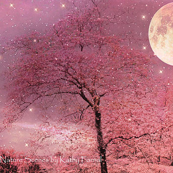 "Nature Photography - Dreamy Pink Trees Stars, Moon Stars Night, Fantasy Pink Surreal Nature, Fine Art Photo 8"" x 12"""