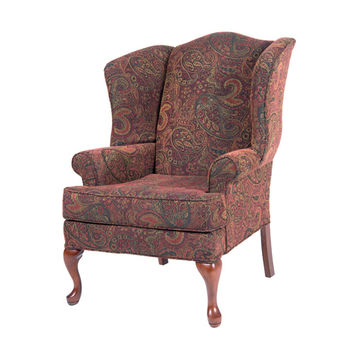 Comfort Pointe 7000-01 Paisley Cranberry Wing Back Chair