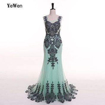 Mermaid Evening Dress YeWen Mint Green Scoop Neck Sleeveless Transparent back Lace Embroidery beads Long Prom Dress 2018