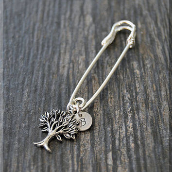 Silver Personalized Family Tree Charm Kilt Pin, Initial Charm Scarf Pin, Family Charm Brooch, Letter Pin, Personalize Safety Pin Brooch