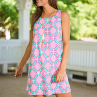 You Have A Sway With Words Dress, Pink-Mint