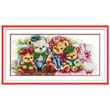 Teddy Bear Family Patterns Counted Cross Stitch 11CT 14CT Cross Stitch Sets Chinese Cross-stitch Kits Embroidery Needlework