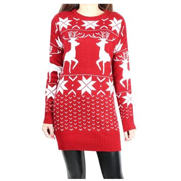 Korean Fashion Women Sweaters and Pullovers Jumpers Ugly Christmas Sweater with Deer Befree Cashmere Knitting Long Sweater Dress