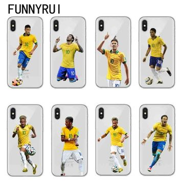 Soccer player Neymar Jr Phone Case For Apple iPhone 6 6S 7 7Plus 8 8Plus X 10 5 5S SE Soft TPU Clear Silicone Cover Coque