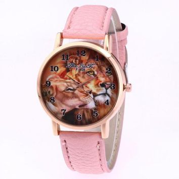Luxury Brand leisure Quartz Watch Ladies Top Special Design Women Leather Lion Printing Dress Hour Female Waterproof Wrist Watch