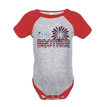 Custom Party Shop Little Brother 4th of July Raglan Onepiece