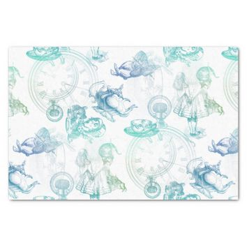 "Alice in Wonderland Tea Blue Green Tissue Paper 10"" X 15"" Tissue Paper"