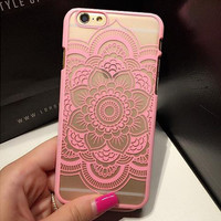Beautiful Floral Henna Paisley Mandala Palace Flower Phone Cases Cover For iPhone  7 5 5S SE 6 6S 6 Plus 6S Plus+ free gift box