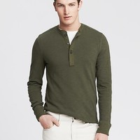 Banana Republic Mens Elbow Patch Henley