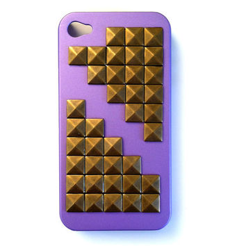 Lavender Brass Studded Iphone 4 or 4s hard case: Verizon, AT&T, or Sprint