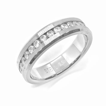 ON SALE - Satin Edged Men's Stainless Steel CZ Eternity Band