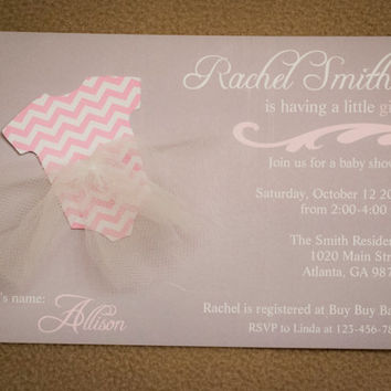 Baby Girl Shower Invitations -  Chevron Tutu - Gray and Pink or White and Pink