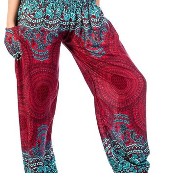 Boho Harem Yoga Pants - Rose Burgundy