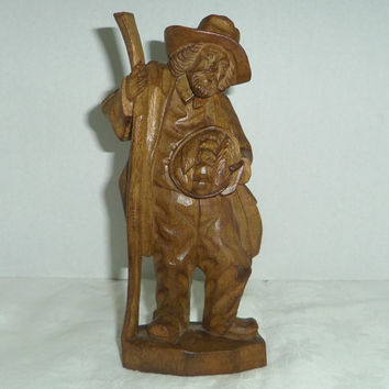 Carved Wood Figure Old Man Pedlar Hobo with Basket of Fruit Vegies 8.25 inc.