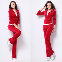 Women Winter Suits 2016 Christmas New Hoodies Women's Velour Tracksuit Set Feminino Sportsuit Plus Size Two Piece set 10 Colors