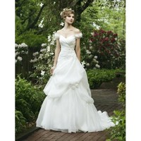 Dreamy and Perfect Sweetheart Floral Draped Sleeves Applique Organza A-Line Princess Wedding Dress - Basadress.com