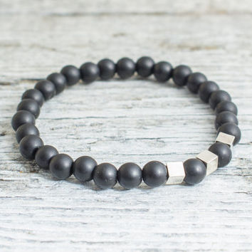 Matte black onyx beaded stretchy bracelet with silver plated hematite beads, made to order yoga bracelet, mens bracelet, womens bracelet