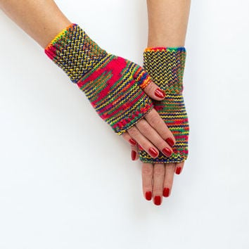 Warm Rainbow Hand knitted Women Fingerless Gloves - Accessory