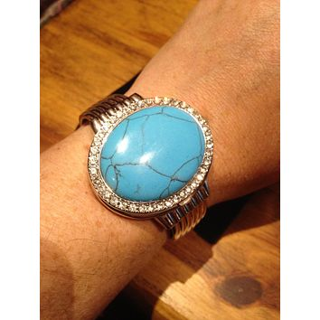 Oval Turquoise Covered Bangle Bracelet Watch