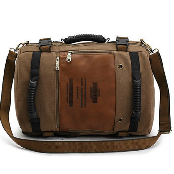 KAUKKO Multifunction Canvas Backpack Male Messenger Shoulder Bag Large Capacity Laptop Travel Rucksack for Men and Women