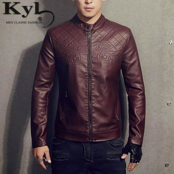 2017 New Men Clothing Casual Slim Fit men long sleeve Leather shirt Motorcycle jackets Mens men coats Brand Clothing BSGD972