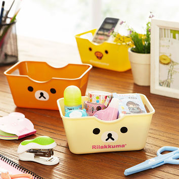 New Kawaii Cartoon Bear Duck Cosmetic Box Pencil Case Cute Desk Organizer Case Sundries Container Storage Box Free Shipping 245
