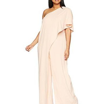 Adrianna Papell Women's Plus Size One Shoulder Draped Jumpsuit, Blush, 14W