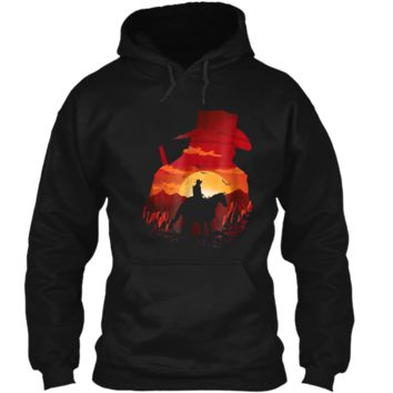 Red sunset cowboys  men women Pullover Hoodie 8 oz