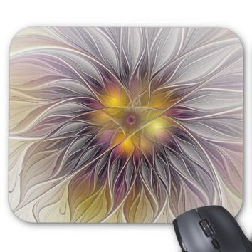 Luminous Colorful Flower, Abstract Modern Fractal Mouse Pad
