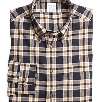 Slim Fit Navy Plaid Flannel Sport Shirt - Brooks Brothers