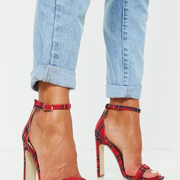 Missguided - Red Tartan Square Toe Illusion Barely There Heels