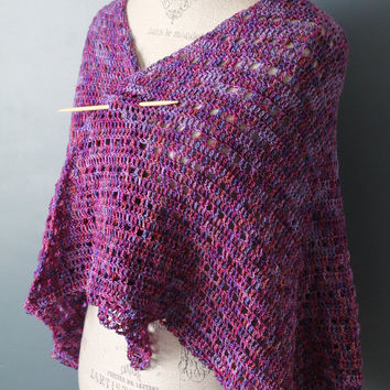Crochet - Womens - Shawl / Wrap - Hand Painted Lace Merino Wool - Purple Tones