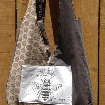 Hip Bag Diaper Tote God Save the Queen Bee Pocket on Cream and Gray