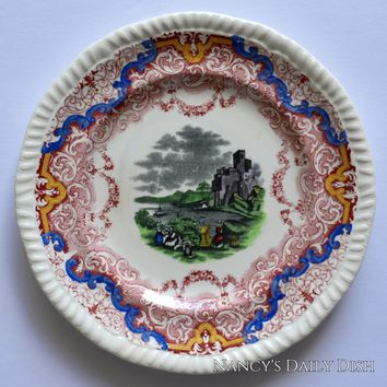 Very RARE Two Color Red & Black Transferware Plate Spode Copeland Continental Views Hand Painted