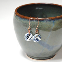 Pottery earrings,clay dangle earings,ceramic bead earing,blue clay,clay copper earring,pottery jewellery,canadian jewellery,abstract earings