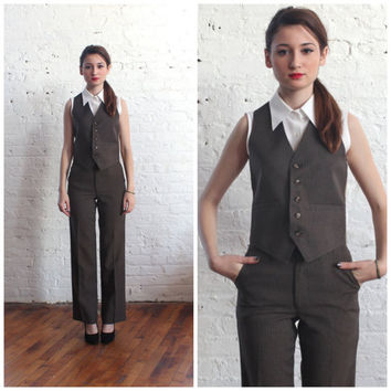 1970s pinstripe vest and pants / brown menswear waistcoat trousers (xs-s)