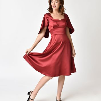 Voodoo Vixen 1940s Burgundy Red Satin Mariah Cape Dress