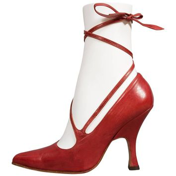 Vivienne Westwood red leather lace up stilettos, circa 1997