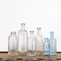 Antique Glass Bottles, Set of 6, Apothecary Bottles, Pharmaceutical, Glass Bottle Collection, Clear Glass Bottles, Blue Glass Bottles
