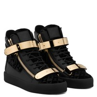 Giuseppe Zanotti Gz Coby Velvet Printed Leather High-top Sneaker With Metal Plate - Best Deal Online