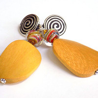 Large Clip on Earrings, Yellow Earrings, Big Earrings for Women, Wooden Earrings, Perfect Gift for Her, Handcrafted Jewelry, Glass Earrings