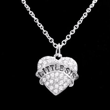 Crystal Little Sis Heart Gift Little Sister Christmas Gift Charm Necklace