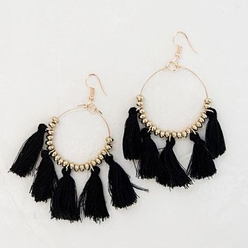 Steal The Show Tassel Earrings - Black