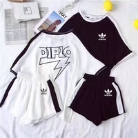 """Adidas"" Women Fashion Casual Letter Multicolor Stripe Middle Sleeve Shorts Set Two-Piece Sportswear"